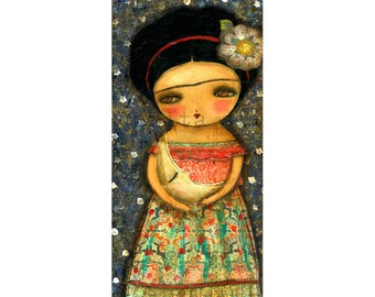 Frida's lullaby - Giclee Reproduction Of Original Mixed Media Painting By Danita Art (ACEO, Paper Print and Mounted On Wood)