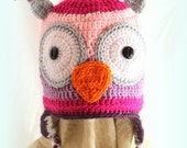 Custom Made-Owl  Hat- You Pick Size and Colors- Fleece Lined- (12m- Youth Small)