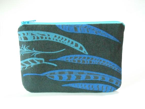 Medium zipper pouch/ makeup bag / clutch --- Feathers on black