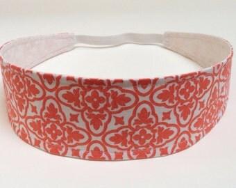 Headband Reversible Fabric   -  Tangerine, Orange, White Mod Geometric Print -  Headbands for Women - AVERY