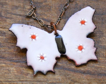 Butterfly Necklace - Enameled Copper Pendant