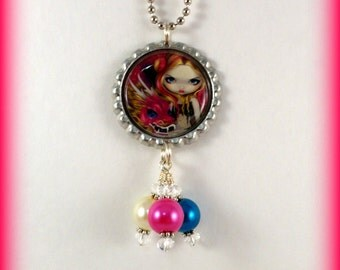 """Jasmine Becket-Griffith  """" Shimmering Pink Dragon ''  necklace"""
