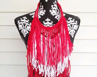 Delta Sigma Theta, Valentine's,   Statement Necklace,Fringe Necklace,DST Accessories, Bohemian Necklace, Festival Wear, Red Necklace, Ethnic