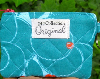 Hapi Heart Bloom Blue Quilted Change Purse, Small Quilted Key Coin Purse, Zipper Change Purse, 144 Collection