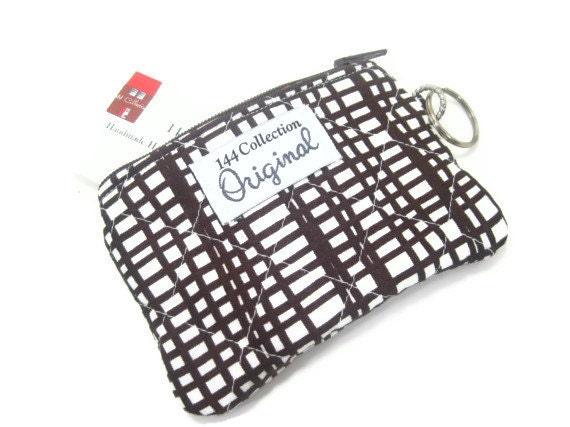 Brown Quilted Change Wallet, Woven Brown Quilted Wallet, Keychain Wallet, Quilted Pouch Bag, Keyring Wallet, Change Purse, Fabric Wallet
