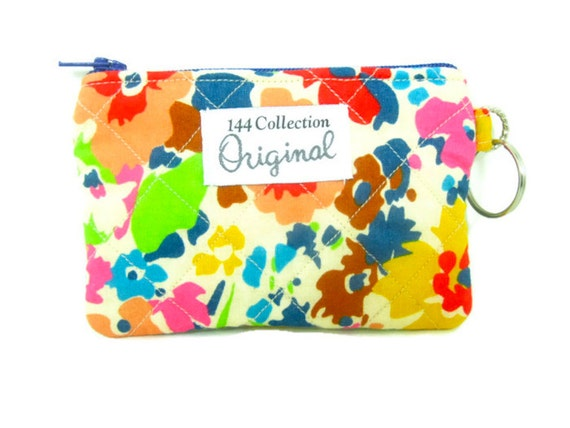 Quilted Coin Purse - Rich Red Blue Garnet Floral Wallet