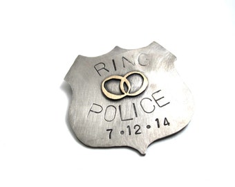 Custom Police Badge Ring Bearer Lapel Pin - hand stamped and personalized