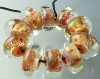 Lampwork Boro Beads Set of 10 Handmade Boro Borosilicate Glass Fat Discs StoneyMarie