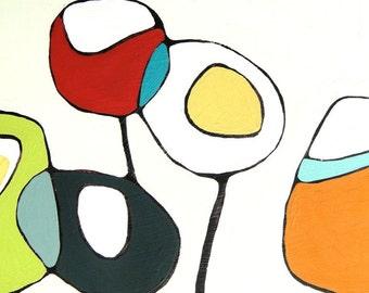 Poppies on Cream - Canvas Print 24 x 24