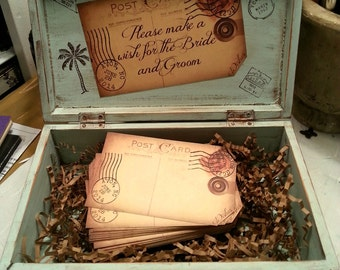 WEDDING GUESTBOOK Alternative with 150 Guest Cards/Tags, Destination Wedding, Tropical, Vintage, Travel Themed Wedding