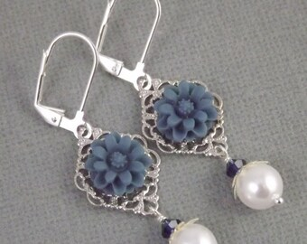 Navy Blue and White Silver Filigree Flower and Pearl Earrings