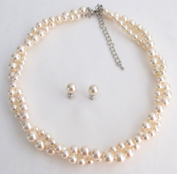 Wedding Jewelry Twisted Pearl Double Strand Swarovski Ivory Pearls Necklace with 8mm Stud Earrings Free Shipping in US