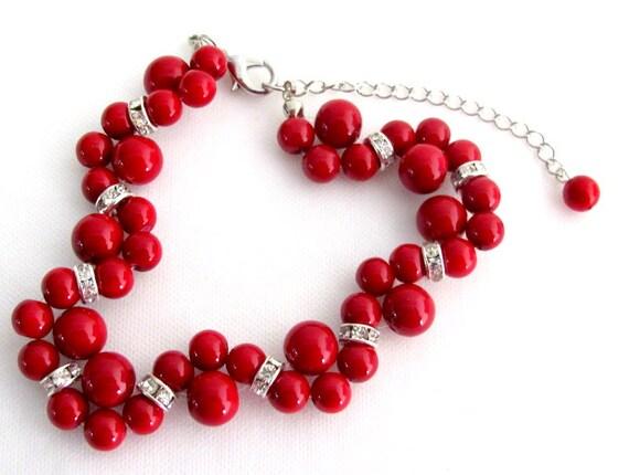Red Pearl Twisted Bracelet Wtih Rhinestone Bridesmaid Bracelet Flower Girl Bracelet Wedding Gift Free Shipping In USA