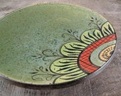Luncheon Plate with Flower Mandala - Wheel Thrown Stoneware Pottery - Green, Yellow, Orange, Lime