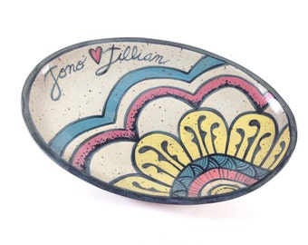Personalized Wedding Platter - Oval Platter with Names - Flower Mandala