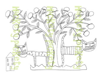 Primitive Stitchery Pattern Embroidery Cat Cats Apple Tree Folk Art House Punch Needle Embroidery Coloring Sheet  Instant Download