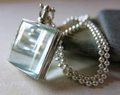Sterling Silver Glass Photo Locket - Square Pet Memorial Jewelry Photo Locket Pendant - Mourning Jewelry