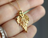 Gold Birch Leaf Necklace, Simple Leaf Necklace, Autumn Jewelry, Gold Leaf Pendant, Real Leaf, 14k gold fill, Small, Dainty, Organic, Nature
