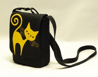 Small black linen messenger bag, with yellow linen cat applique