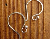 Sterling Silver Ball Tipped Ear Wires in Bright or Antiqued Finish - 1 pair