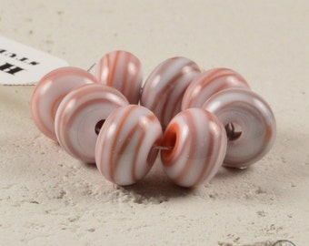 Small Handmade Lampwork Spacers - Coral on White
