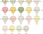40% off Hot Air Balloon clipart BUTTERFLY BALLOONS 28 png and jpg clipart images for scrapbooking, cards Instant Download