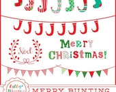 80% off Christmas bunting banners, stockings, word art, clipart, noel, commercial use INSTANT DOWNLOAD