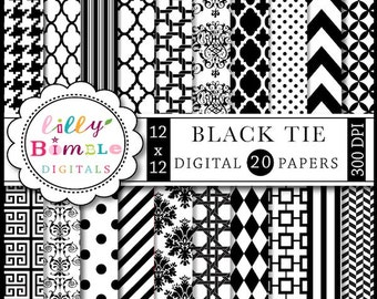 60% off Black and White digital scrapbook papers chevron, quatrefoil, damask INSTANT DOWNLOAD