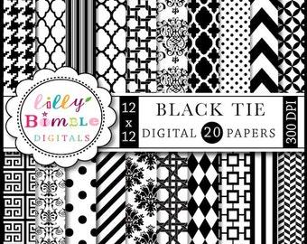 80% off Black and White digital scrapbook papers chevron, quatrefoil, damask INSTANT DOWNLOAD