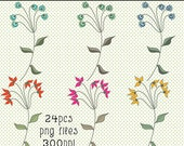 Flower Graphics, Clip Art Flowers, Line Art Flowers, Floral Art Graphics, Instant Download,Wedding Flowers Graphics, Pretty Flower Graphics