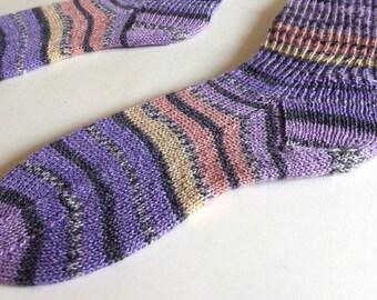 SALE . Knit socks . Purple hand knit socks . Striped socks . Cotton elastic wool socks . Handknit wool socks . Handmade in Canada . Small