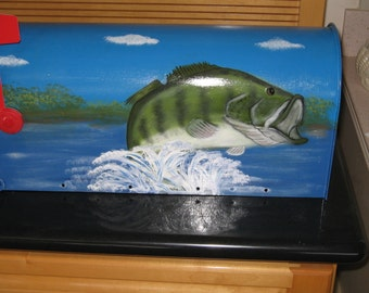 Hand Painted Bass Themed Mailbox Standard Post Mailboxes