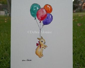 Bunny Rabbit Balloons Bunny Watercolor Art Original Painting by Artist Debra Alouise