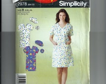Simplicity Misses' Scrubs Dress, Hat and Hairband Pattern 2978