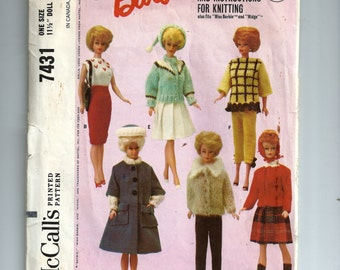 McCall's Barbie Doll's Instant Wardrobe and Instruction for Knitting Pattern 7431