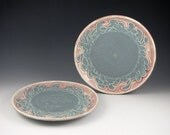 SALE Dessert Plate Set of 2 in Pink and Blue