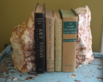 Stone Slab Book Ends.  Marble.  Geode.