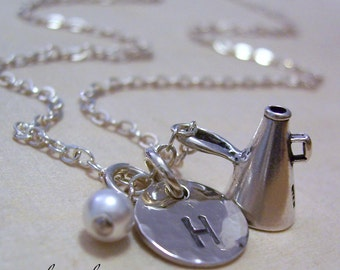 Cheerleader Megaphone Personalized Charm Necklace, Hand Stamped Sterling Silver Initial Necklace, Cheerleader Necklace