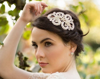 2014 Collection, Wedding Appliqué Headband, Pearl Embellished, Meadow