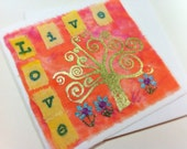 LIVE LOVE Tree of life Mixed Media Art Blank Greeting Card Swirly Tree Foiled in Gold hand dyed and painted fabric