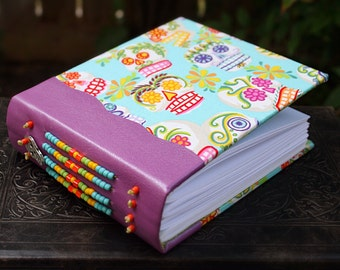 CALAVERA Sugar Skull Day of the Dead Leather and Fabric beaded blank Journal dia de los muertos