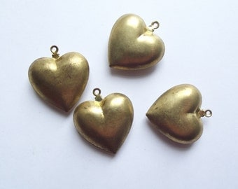 Vintage puffed heart pendant charms