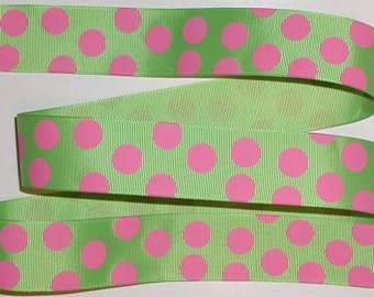 Big Hot Pink Polka Dots On Lime Green Grosgrain Ribbon Preppy Dot 1.5 Wide cbonefive