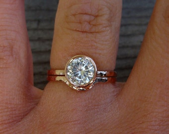 Moissanite Engagement & Wedding Ring Set - Forever One G-H-I - Recycled 14k Rose Gold, Made to Order - Eco-Friendly Diamond Alternative