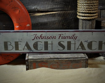 Custom Family Beach Shack Sign - Rustic Hand Made Vintage Wooden ENS1001084