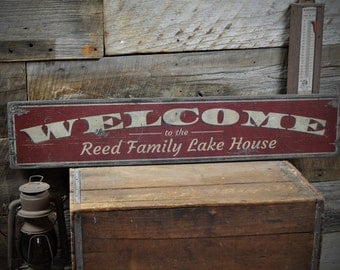 Custom Family Welcome Lake House Sign - Rustic Hand Made Vintage Wooden ENS1001114