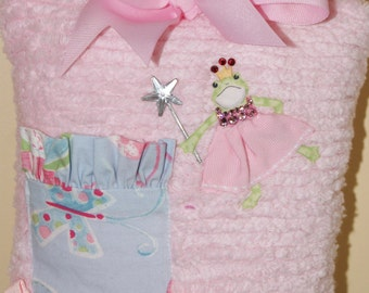 Boutique Chenille Tooth Fairy Pillow Devin Frog Princess Pink Butterfly