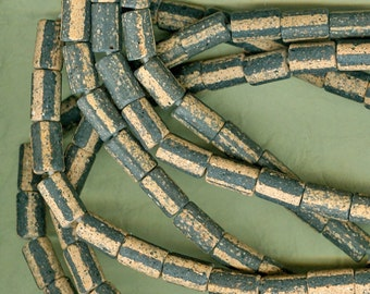 Handmade in America - 30 Inch Strand of Speckled Black and Earthy Sandy Brown Stoneware Tube Beads