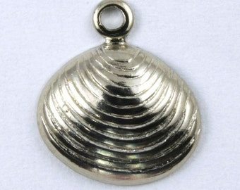 10mm Antique Silver Clamshell Charm (8 Pcs) #190