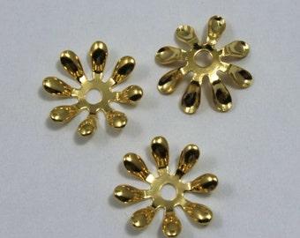 Vintage Gold Eight Petal Flower Filigree (6 Pieces) #1304